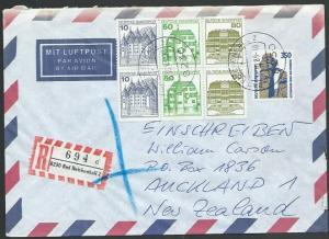 GERMANY 1989 Registered airmail cover to New Zealand - nice franking.......11279