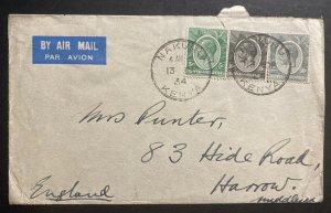 1934 Nakuru Kenya British KUT Airmail Cover To Harrow England