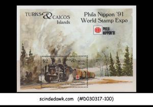 TURKS & CAICOS ISLANDS - 1991 PHILA NIPPON '91 / RAILWAY TRAINS - M/S MNH