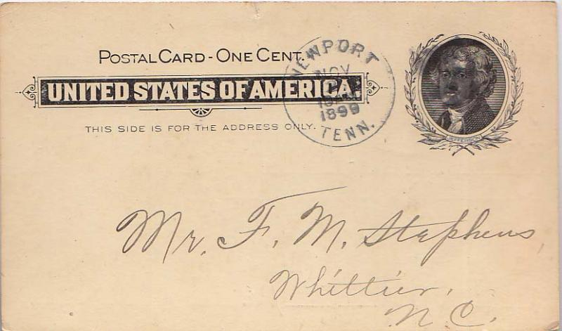 United States Tennessee 1899 Postal History