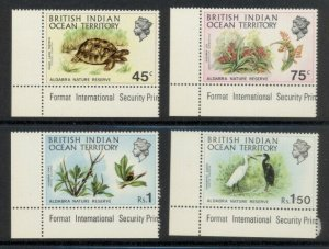 British Indian Ocean Territory 39 to 42 mnh lower left corner stamps