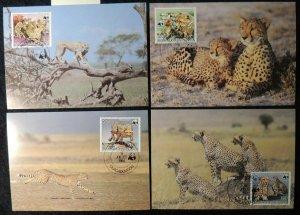 upper volta 1984 WWF cheetahs maxicard animals WWF big cats mammals