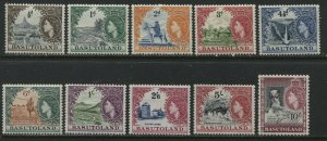 Basutoland  QEII 1954 1/2d to 10/ Note missing the 1/3d mint o.g. hinged