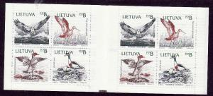 Lithuania-Sc#430a-unused NH Bird complete booklet with 2 pan