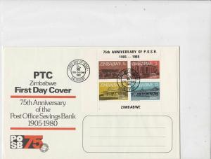 Zimbabwe 1980 75th Ann. of Post Office Savings Bank FDC Stamps Cover ref 22875