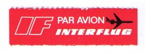INTERFFLUG AIRLINES - SCARCE OLD 1971 AIR MAIL LABEL CAT #GDR-B-3 (AM44)