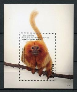 Palau 2017 MNH Wild Animals of World Golden Lion Tamarin 1v S/S Monkeys Stamps