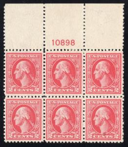 US#526 Carmine Type IV - Top Plt.# Blk.6 - OG - LH - Cat:$312.50 as Singles