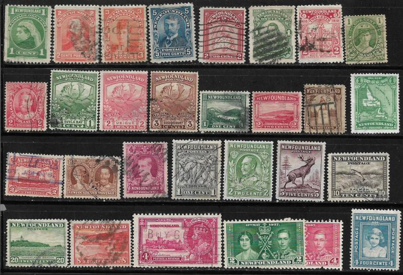 COLLECTION LOT OF 29 NEWFOUNDLAND STAMPS 1897+ CV +$21