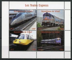 Chad 2014 MNH Express High Speed Trains 4v M/S Railways Rail Stamps