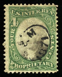 B222 U.S. Revenue Scott #RB4a 4-cent proprietary, 1871 handstamp cxl