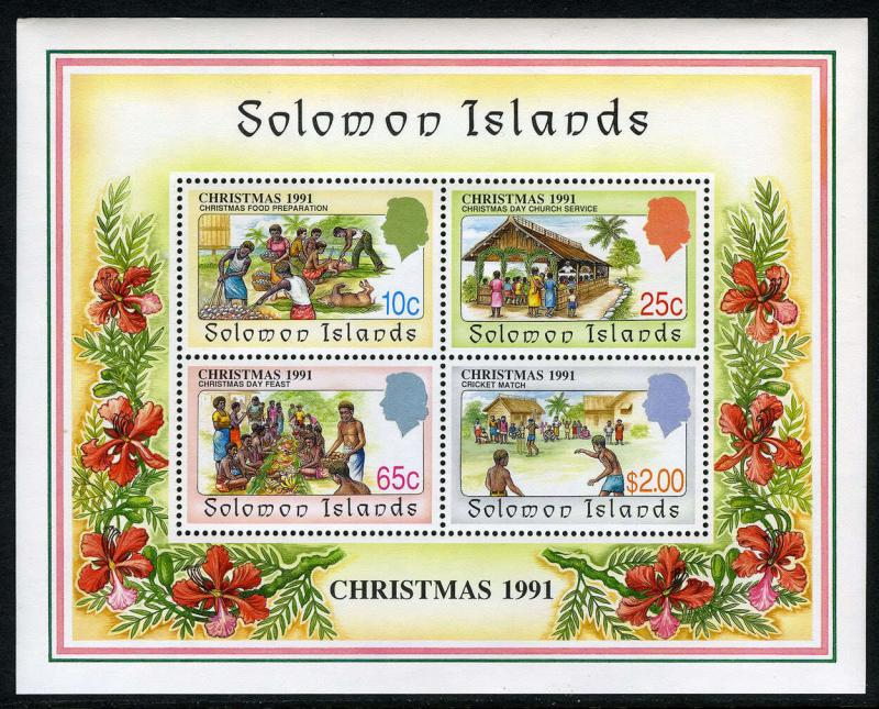 Solomon Islands 702a S/S,MI Bl.30,MNH.Christmas. Food preparation,Feast, 1991