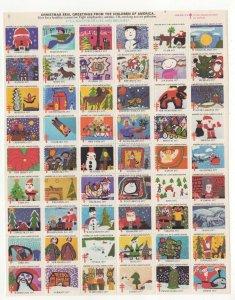 Cinderella TB Christmas Stamps 1977 USA Sheet of 54 Seals MNH