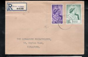 Malaya Johore #128 - #129 Very Fine Used On Registered Cover