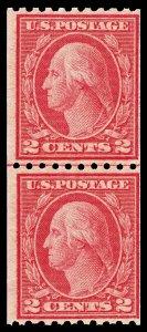 Scott 488 1916 2¢ Washington Coil Type III Mint Joint Line Pair Fine NH Cat $90