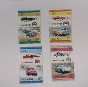 O) 1984 TUVALU, NIUTAO,  SPECIMEN, OLD CARS, AUTOMOBILE, BENTLEY, WOLSELEY, CROS
