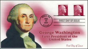 AO-2001-3, 2001, George Washington, First Day Cover, 20 Cent, Red