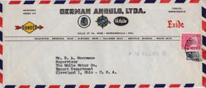 Columbia 1953 Airmail Automobile AD Corner card. Sunoco Hudson
