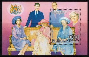 Burkina Faso 1985 Sc#707 Queen Mother/Princess Diana S/S Perforated MNH