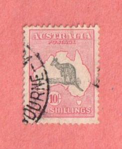 AUS SC #127 1932 Kangaroo and Map w/2 perfs @ TL - light toning, CV $200.00