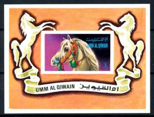 [94033] Umm Al Quwain 1972 Farm Animals Horses Imperf. Sheet MNH