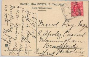 52279 -  GB -  POSTAL HISTORY: EDWARD 1p used on POSTCARD from ITALTY! 1908