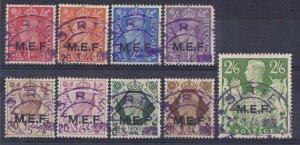 British Occupation Italian Colonies : 1943 MEF KGVI set SCARCE LIBYA postmark.
