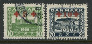 Denmark 1921 set of 2 Semi-postal stamps CDS used
