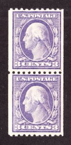 US 489 3c Washington Mint Pair VF OG NH SCV $22.50