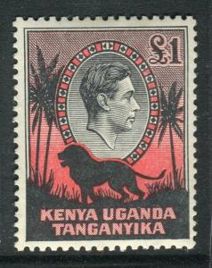 K.U.T-1938 £1 Black & Red Perf 13¾x13.  A mounted mint example Sg 150