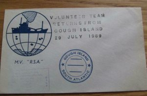 Volunteer Team Returns From Gough Island 1969 M.V  R.S.A  unstamped cover