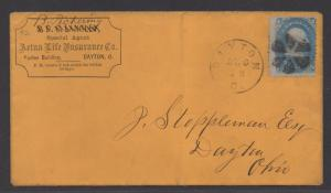 **US 19th Century Cover SC# 92, Grilled Stamp on Advertising Cover, Insurance
