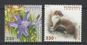 Armenia 2017 Flowers Fauna Animals 2 MNH stamps