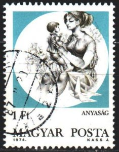 Hungary. 1974. 3004. Maternity protection, woman with a child. USED.