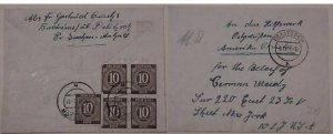 GERMAN COVER #918 x5  cat.$88.00  TO NEW YORK 1947