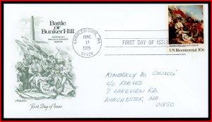 US FDC #1564 10c Battle of Bunker Hill by John Trumbull - Artmaster Cachet