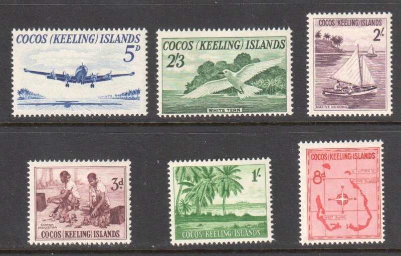 Cocos Islands #1 to 6 VF NH-LH