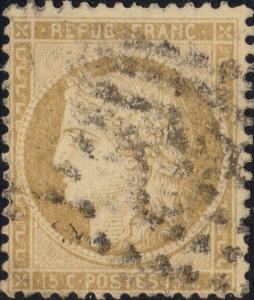 FRANCE - Yv.59 15c bistre (petits chiffres) obl. GC (indistinct)