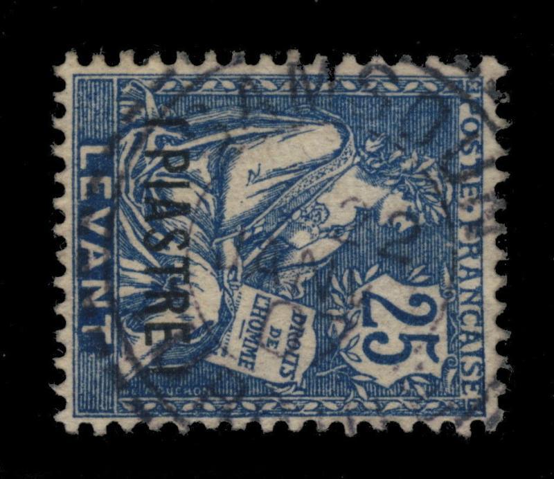 FRANCE / LEVANT - 1907 - CAD DE SAMSOUN / TURQUIE TYPE 84 SUR N°17 1Pi/25c BLEU