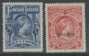 FALKLAND ISLANDS SG41s/2s 1898 HIGH VALUE SPECIMEN SET MTD MINT