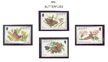 Jersey Sc 568-71 1991 Butterflies Moths stamps mint NH
