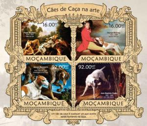 Mozambique - Dogs In Art - 4 Stamp Sheet - 13A-1172