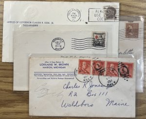 US LOT Used on Cover #702,805,1030,1305 [COVER218]