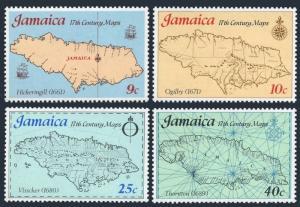 Jamaica 419-422,MNH.Michel 419-422. 17th Century Maps.1977.