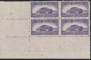 NEW ZEALAND 1939 Express Delivery 6d car - corner block of 4 MNH...........68939