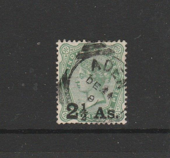 Aden, india Used in, 1891 Opt 2 1/2As on $ 1/2As Used SG Z58