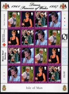 Isle of Man Sc 793 1998 Princess Diana stamp sheet mint NH