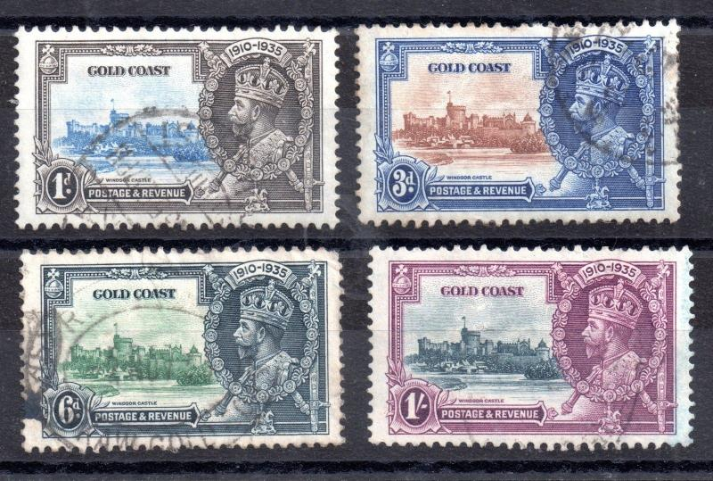 Gold Coast KGV 1935 Silver Jubilee good used SG113-116 WS3537
