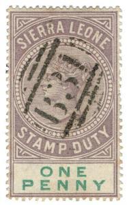 (I.B) Sierra Leone Revenue : Stamp Duty 1d (postal cancel)