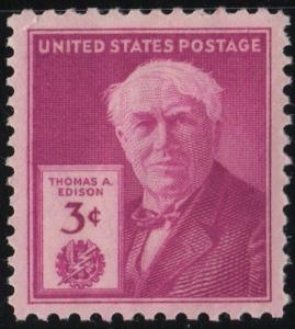 SC#945 3¢ Thomas Edison Single (1946) MNH